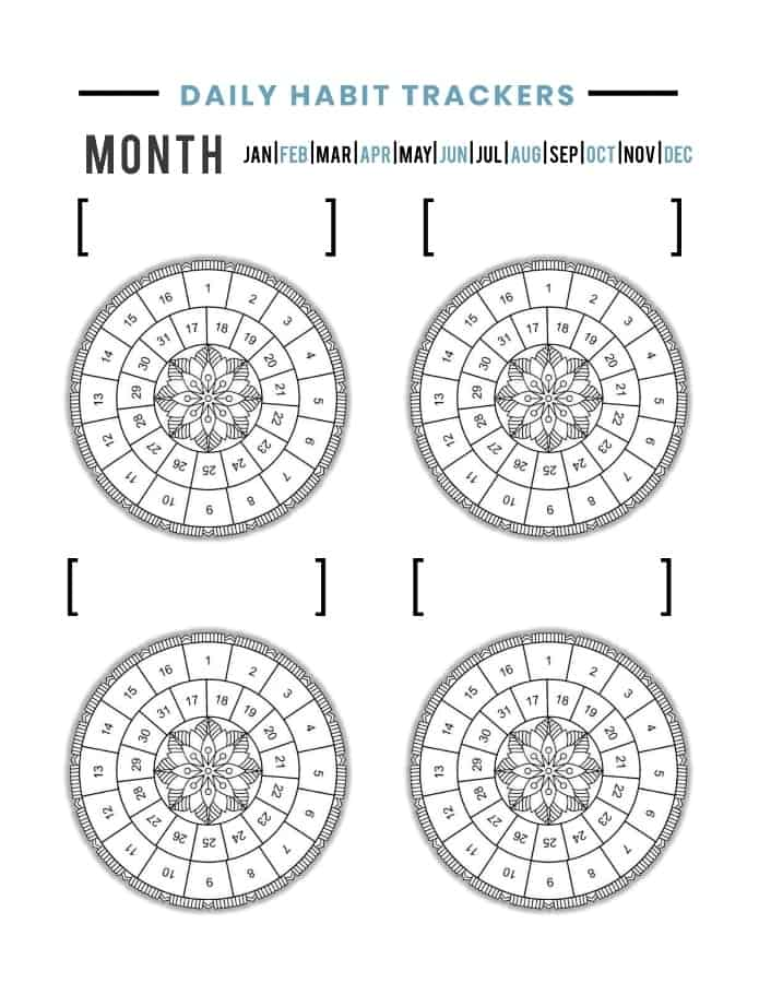 Daily Habit Trackers Circle Printable