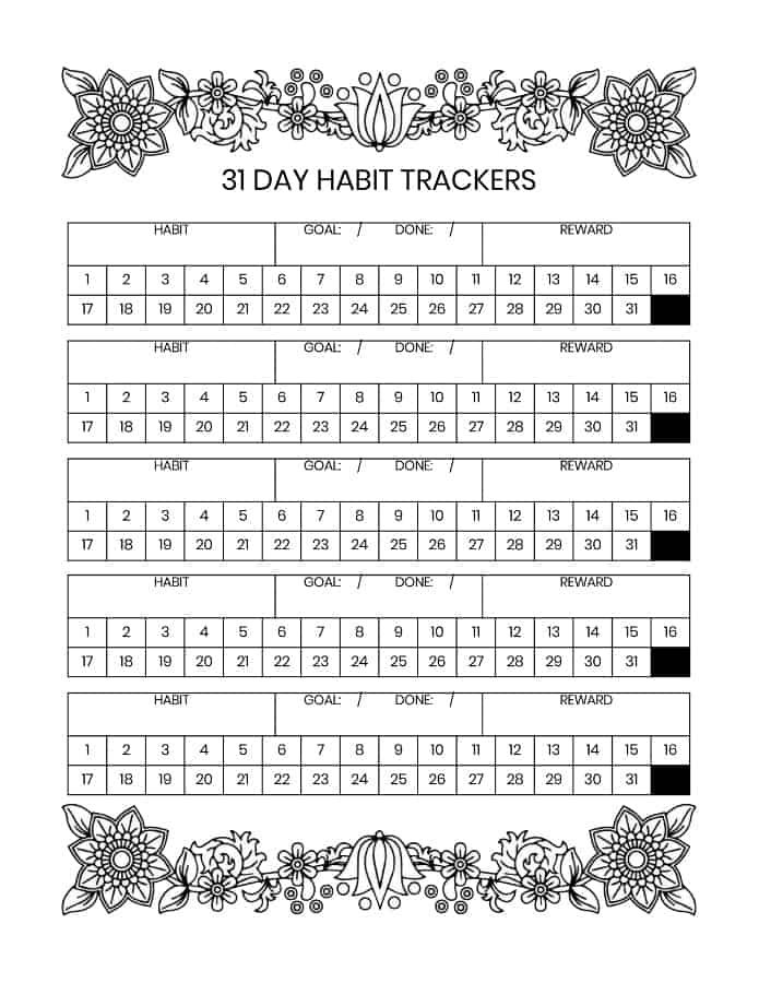 31 Day Habit Trackers Printable